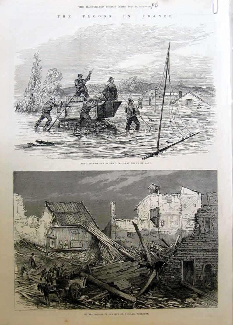 Print Flood Toulouse Railway 1875 France 28Aaaa1 Old Original