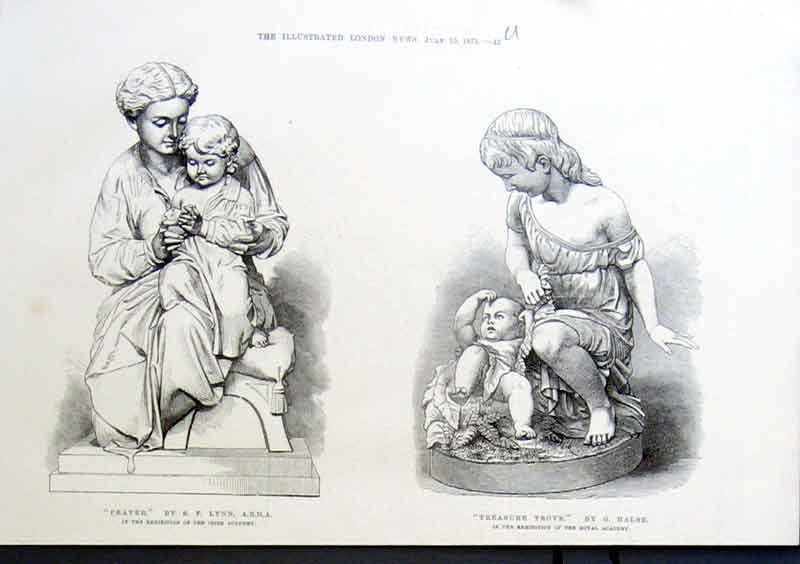 Print Prayer & Treasure Trove 1875 Scupltures 45Uaaa1 Old Original