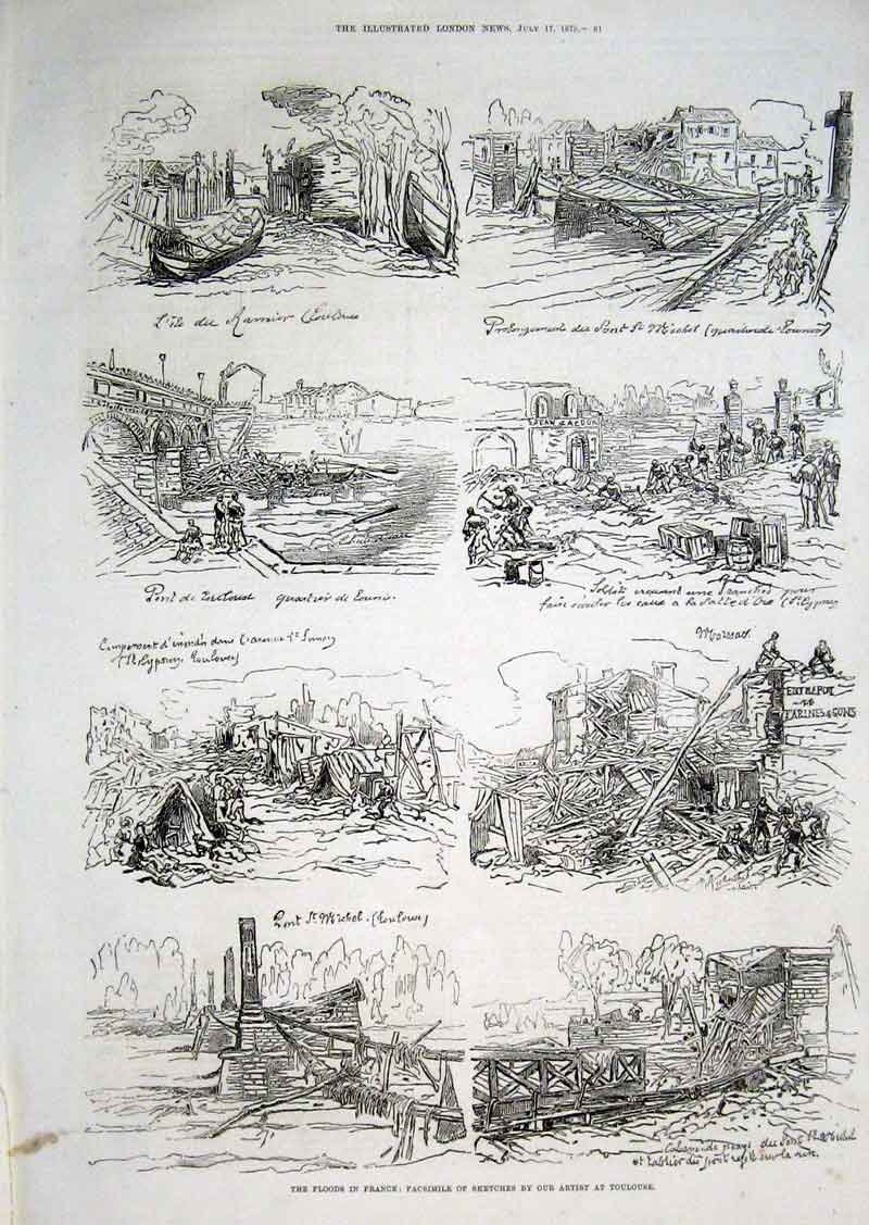 Print Floods In France Toulouse 1875 61Aaa1 Old Original