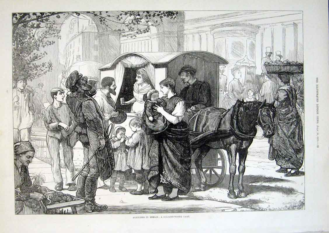 Print A Seltzer Water Cart Berlin 1875 Germany 92Aaa1 Old Original
