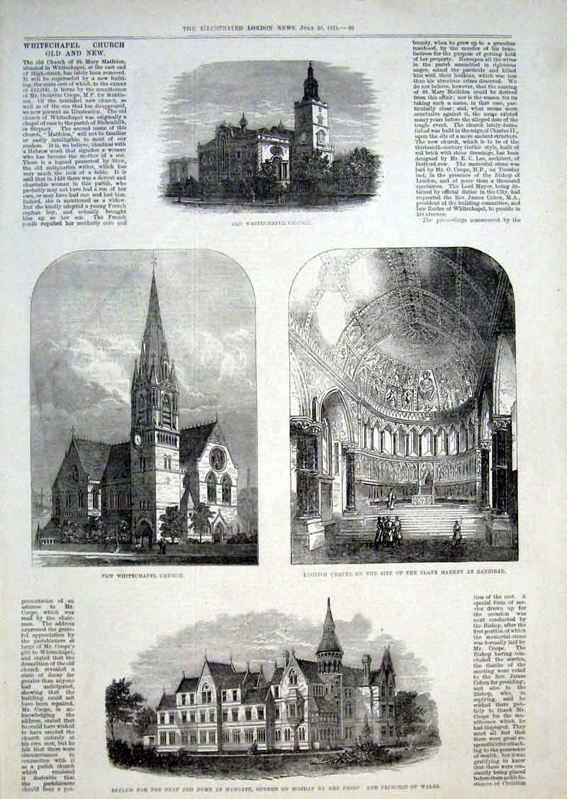 Print Whitechapel Church & New Dumb Asylum Margate 1875 93Aaa1 Old Original