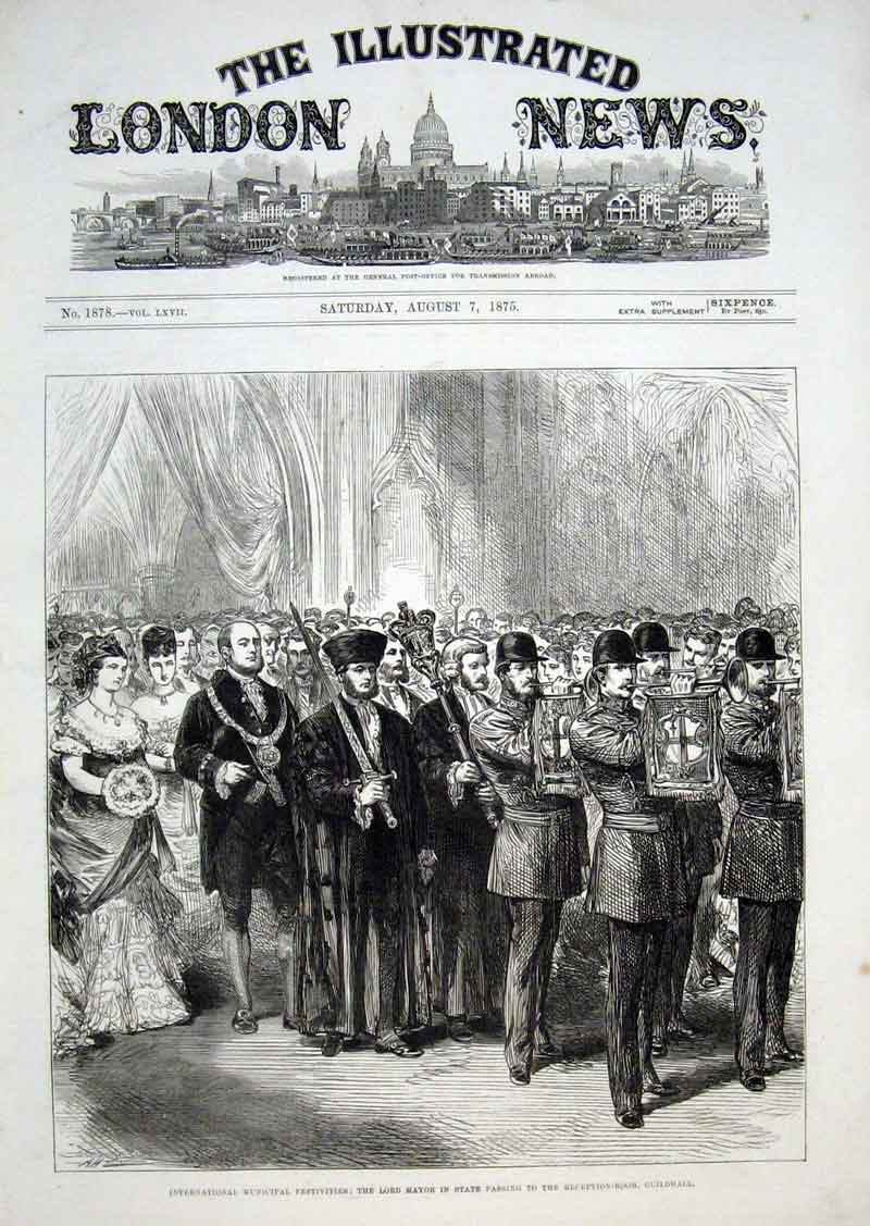 Print Lord Nmayor In State Passing To Reception Guildhall 187 22Aaa1 Old Original
