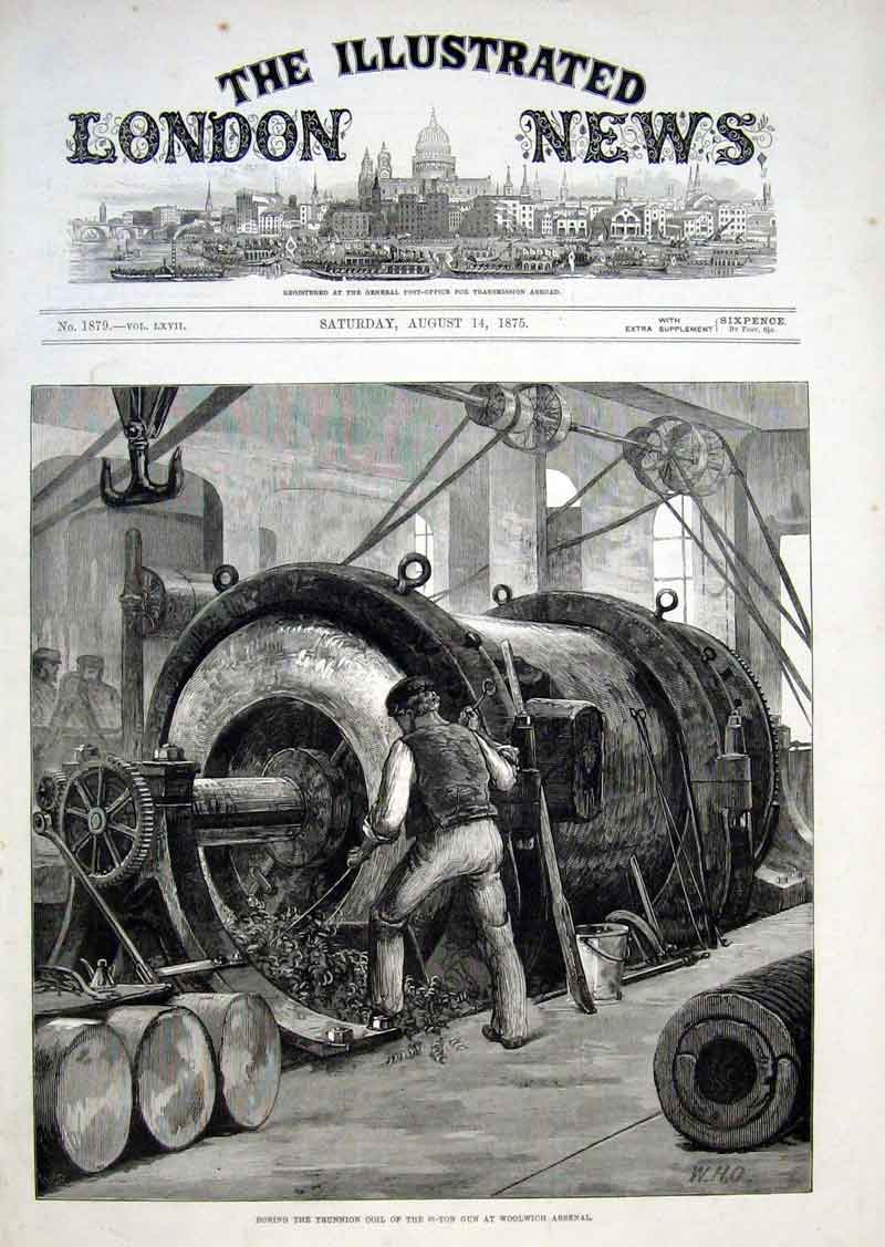 Print Boring Coil For 81 Ton Gun Woolwich 1875 46Aaa1 Old Original