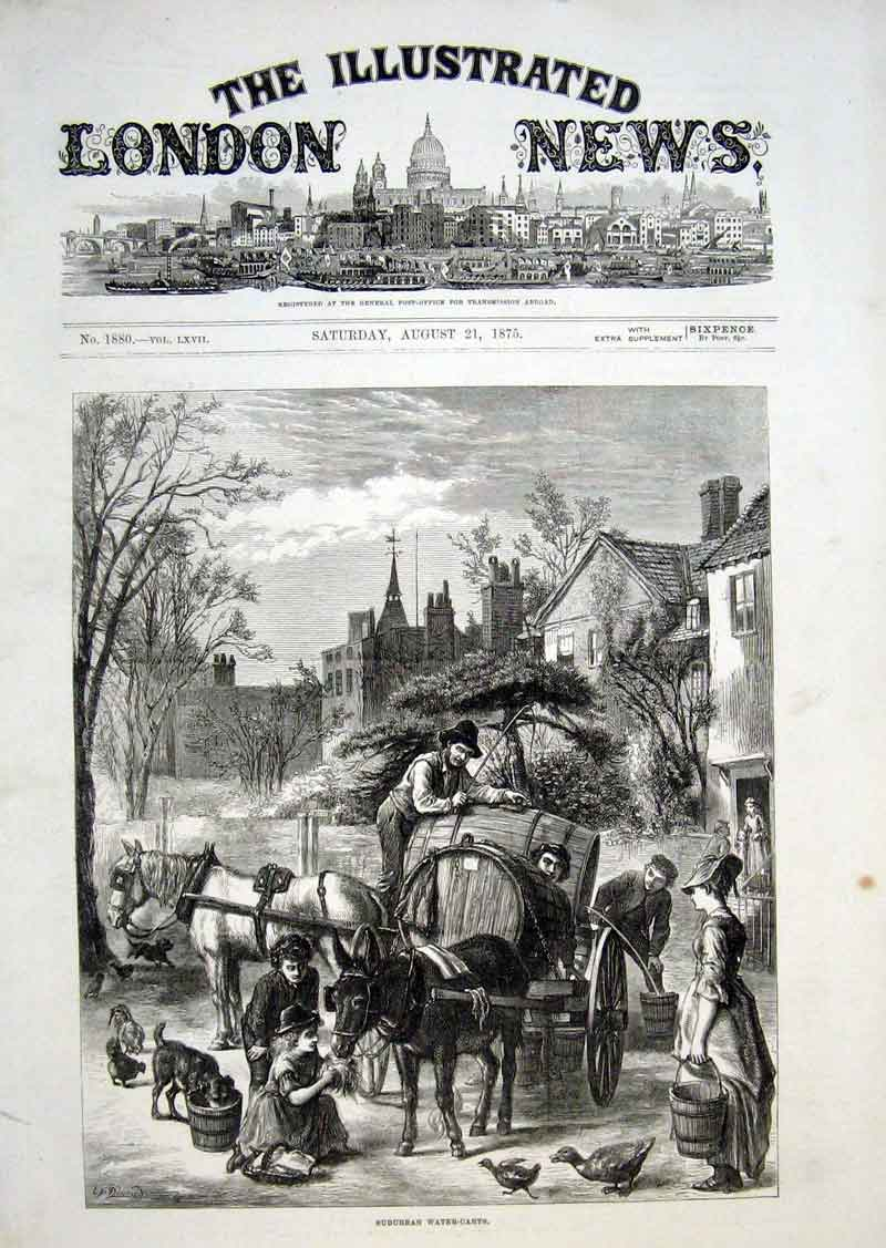Print Surburban Water Carts 1875 70Aaa1 Old Original