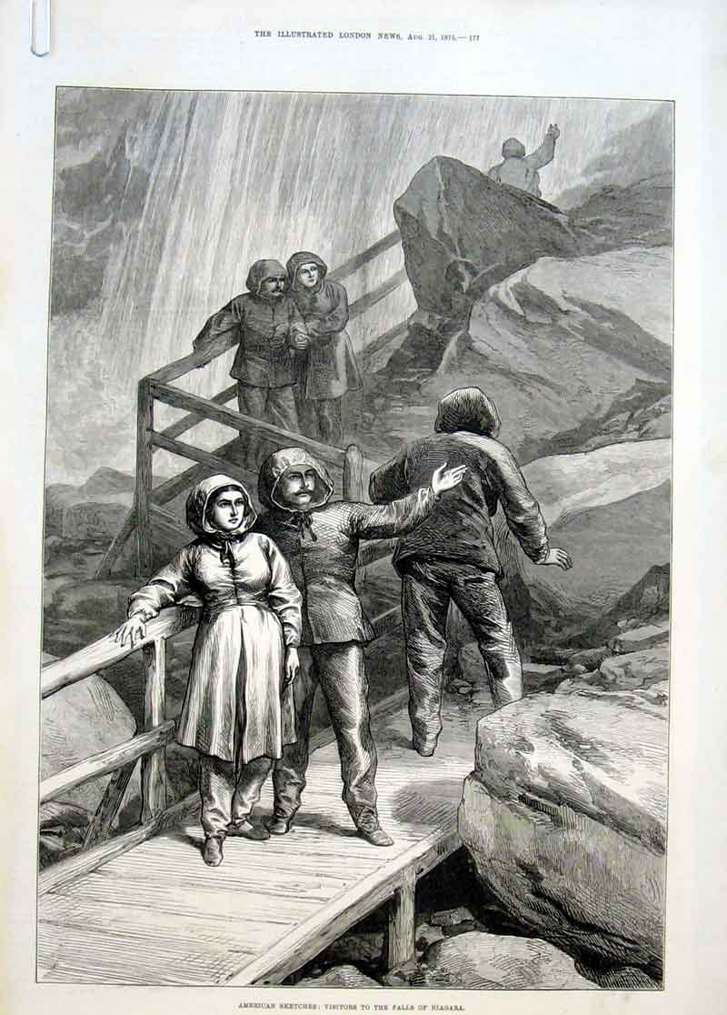 Print Visitors To Niagra Falls 1875 America 77Aaaa1 Old Original