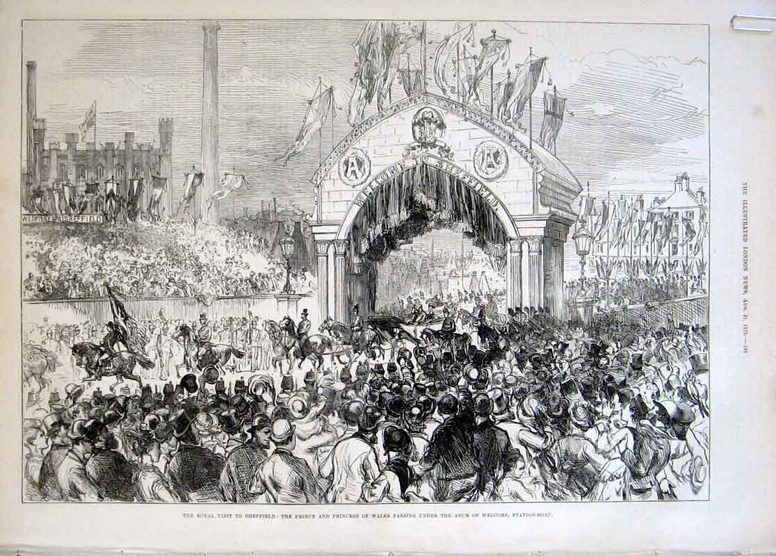 Print Royal Visit Station Road Sheffield 1875 88Aaaa1 Old Original