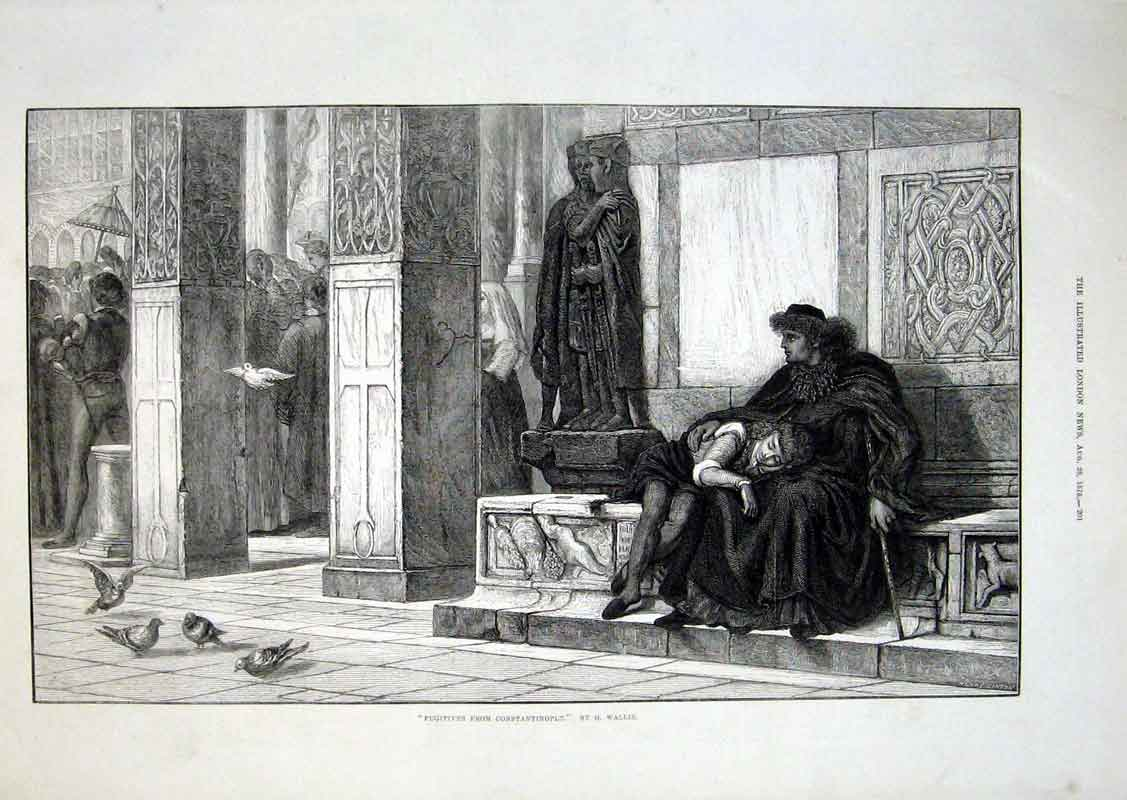Print Fugitives From Constantinople By Wallis 1875 01Aaa1 Old Original