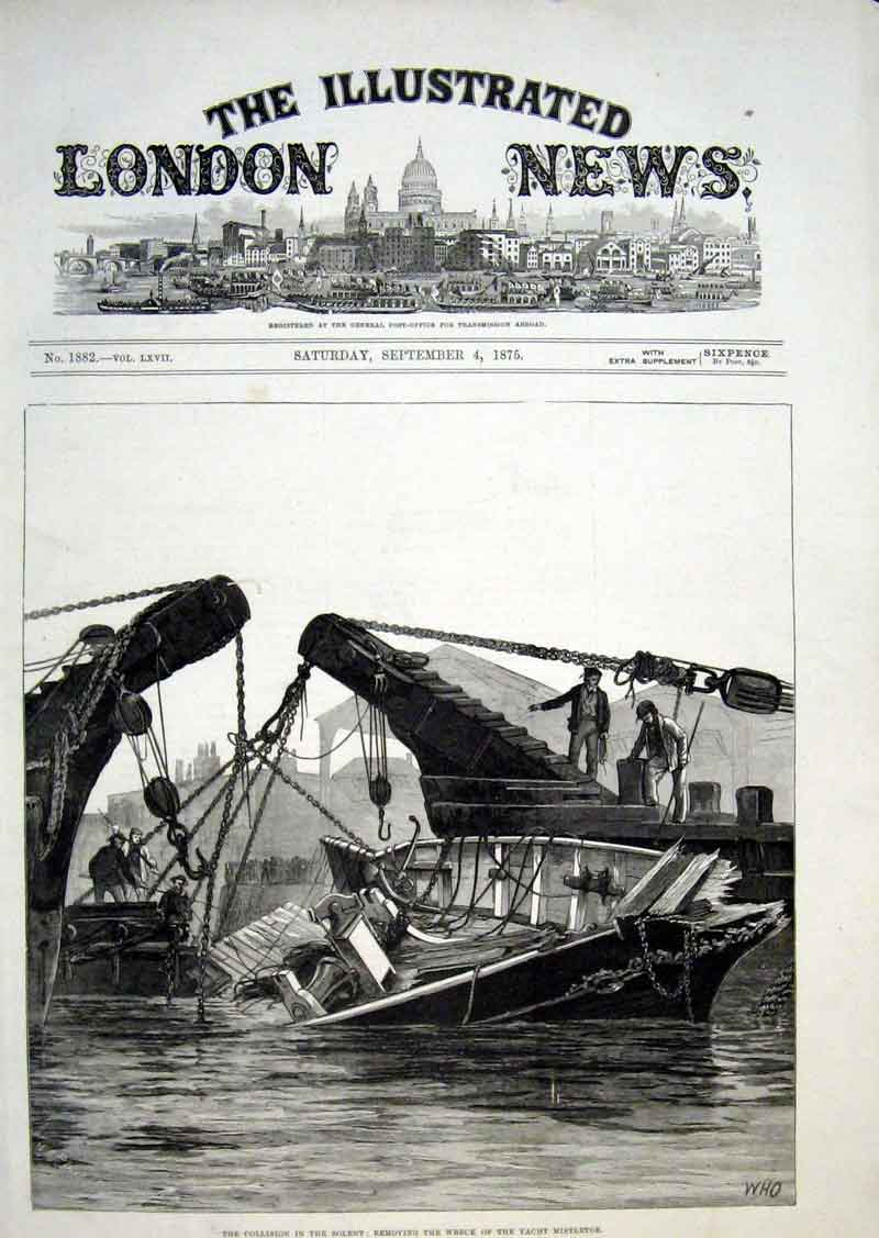 Print Collision In Solent Wreck Yacht Mistletoe 1875 10Aaa1 Old Original