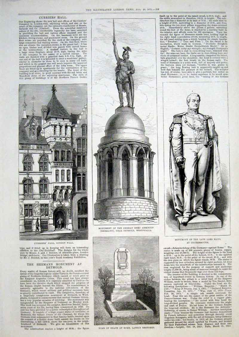 Print The Hermann Monument At Detm1875 13Aaa1 Old Original