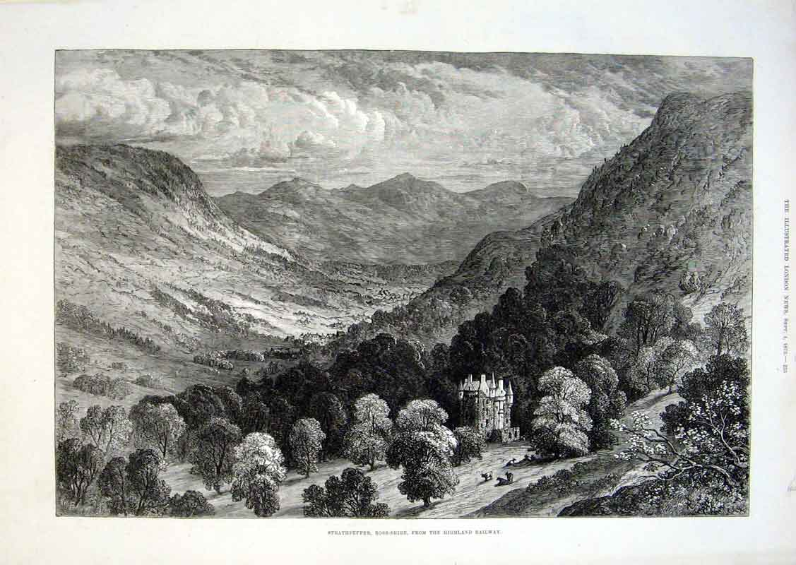 Print Strathpeffer Ross Shire From Highland Railway 1875 25Aaa1 Old Original