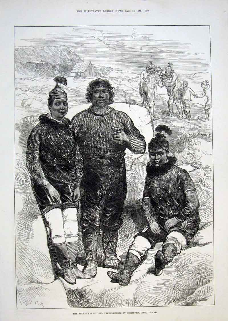 Print Artic Exped Greenlanders At Godhaven Disco Island 1875 77Aaa1 Old Original