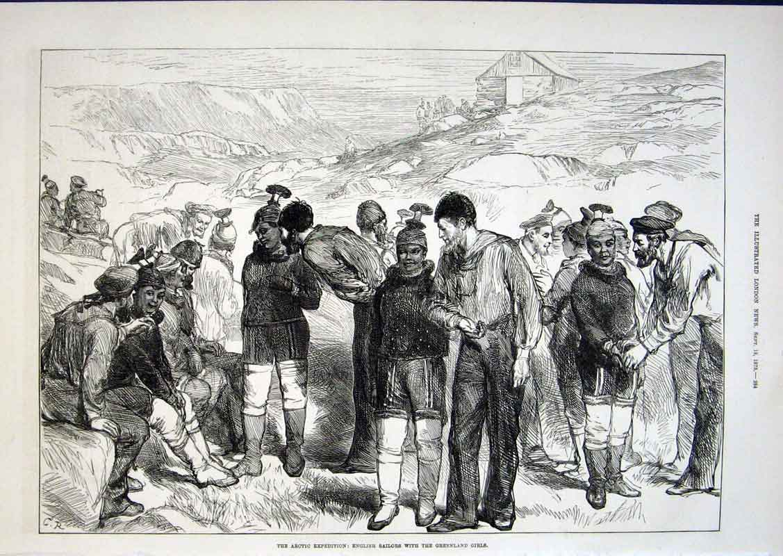 Print Artic Exped English Sailors With Greenland Girls 1875 84Aaa1 Old Original