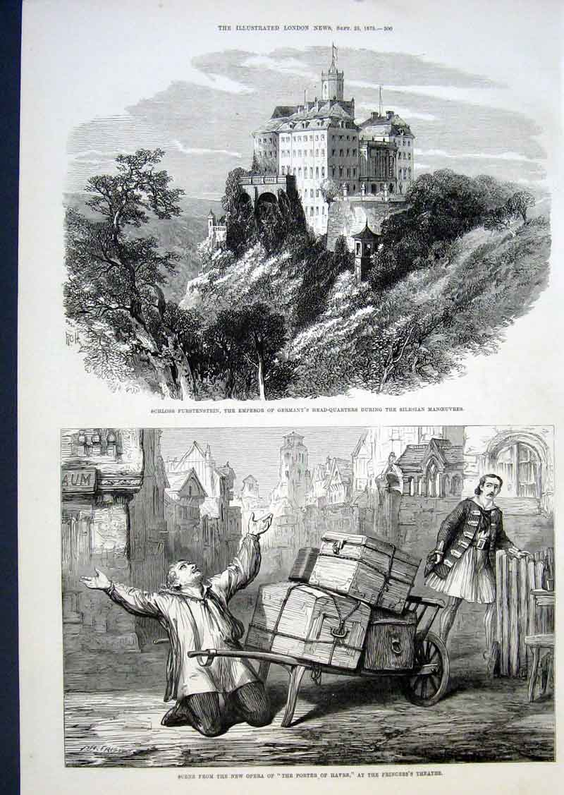 Print Schloss Furstenstein German Emperor'S Hq Silesian 1875 00Aaa1 Old Original