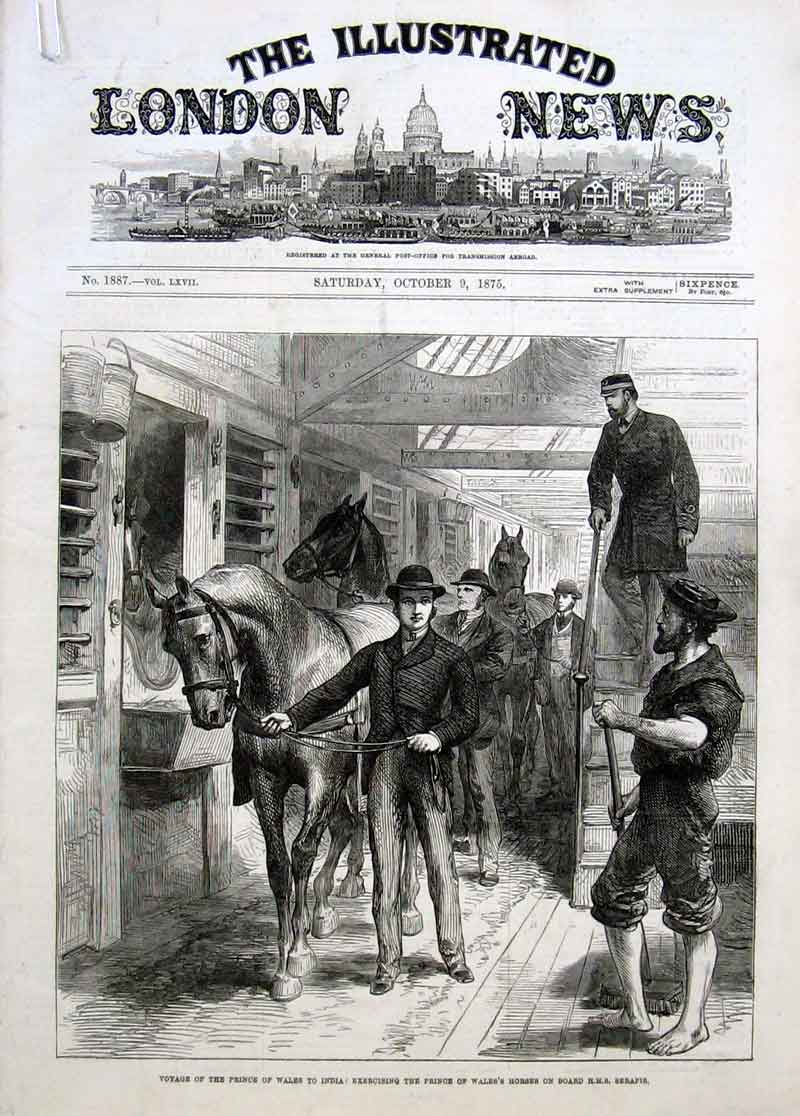 Print Exercising Horses On Board Hms Serapis 1875 70Aaaa1 Old Original