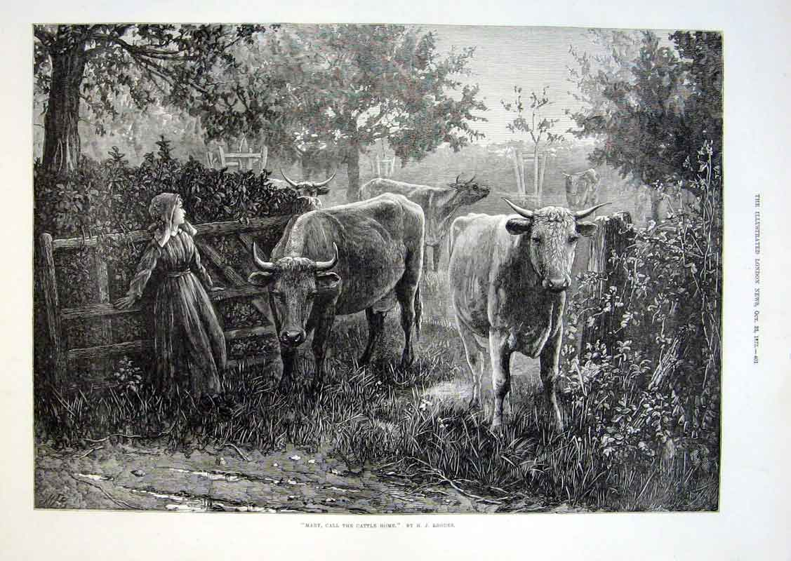 Print Mary Call The Cows Home By Rhodes Fine Art 1875 01Aaa1 Old Original