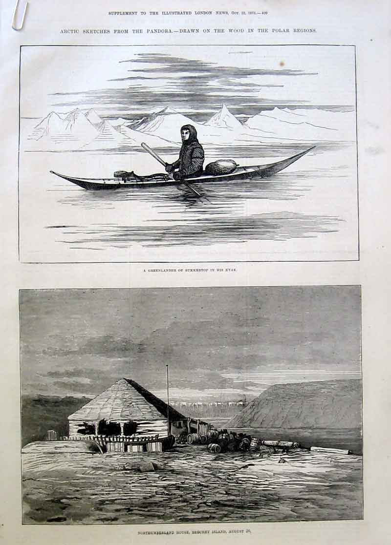 Print Artic Sketches From Polar Regions 1875 09Aaaa1 Old Original