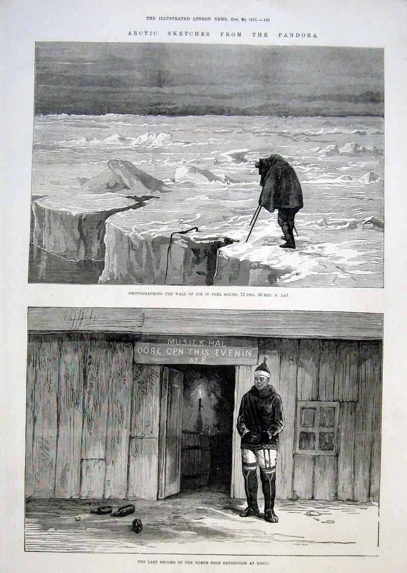 Print Artic Exped Music Hall At Disco & Wall Ice 1875 45Aaa1 Old Original