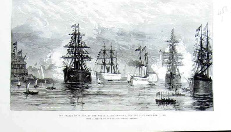Print Royal Yacht Osborne Leaves Port Said For Cairo Ships 52Laaa1 Old Original