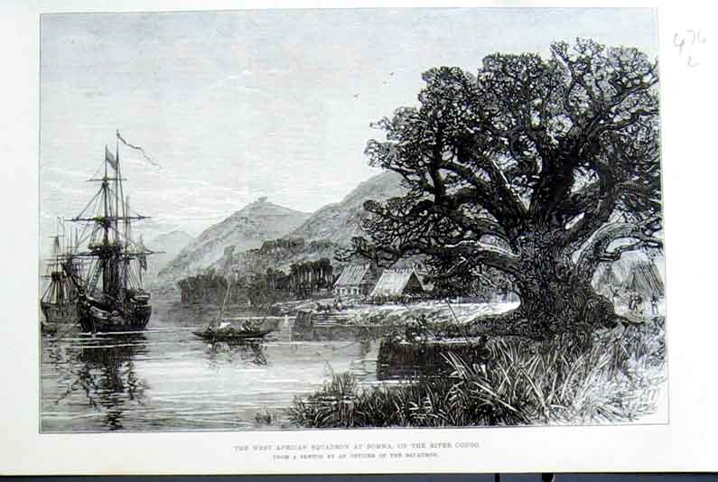 Print West African Squadron At Bomma On River Congo 1875 76Laaa1 Old Original