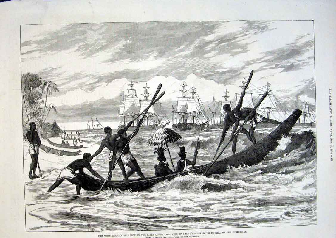 Print American Ships In Congo King Sharks Point Canoe 1875 77Aaa1 Old Original
