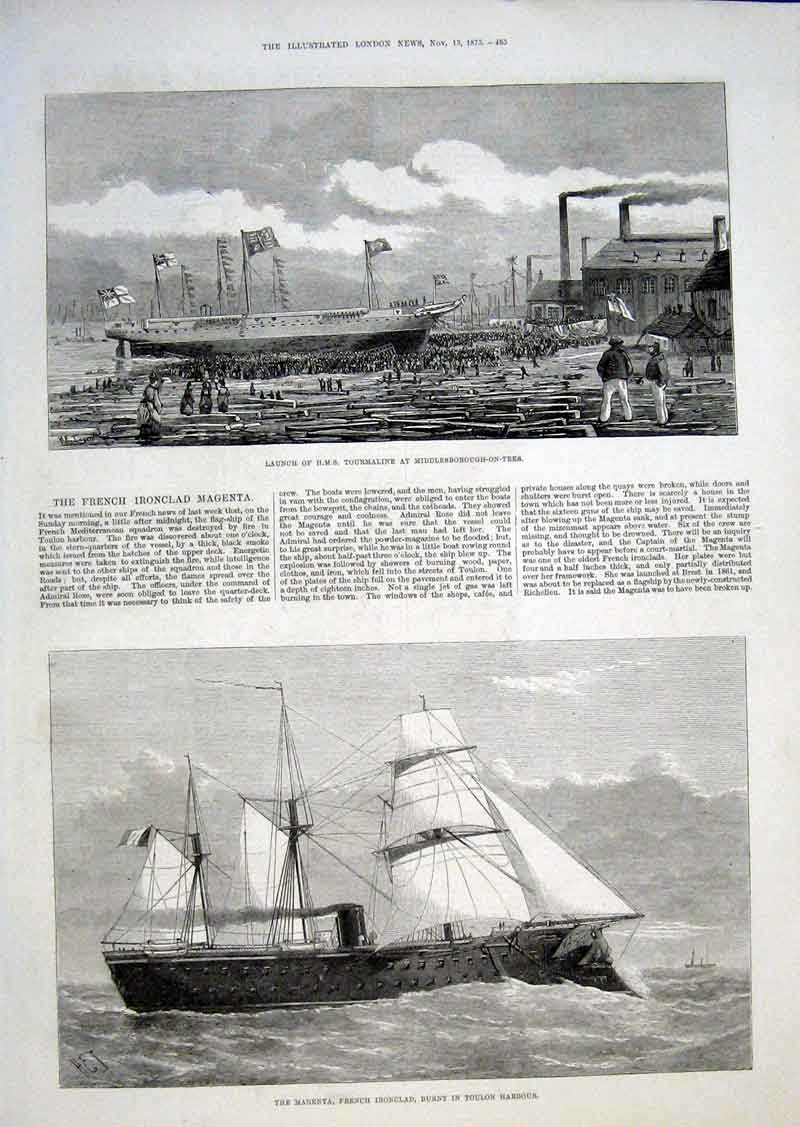 Print Launch Hms Tourmaline Frnch Ironclad Magnenta Ships 85Aaa1 Old Original