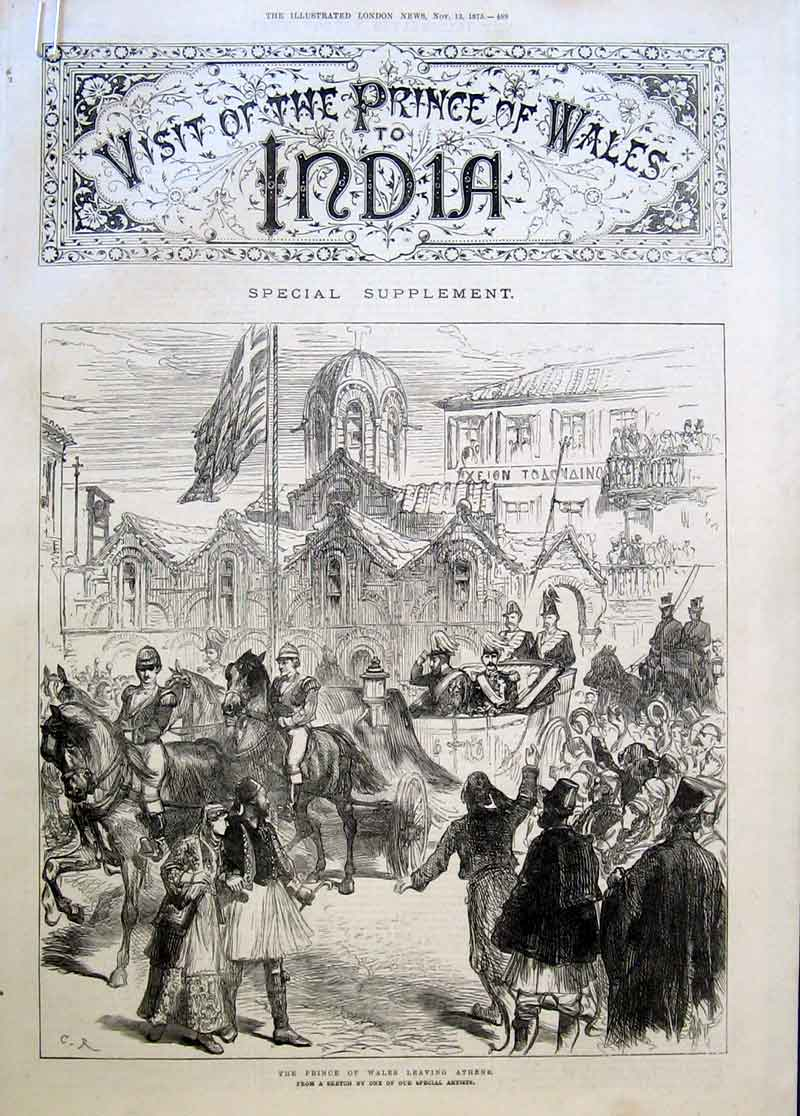Print Prince Wales In Athens Greece Enroute India 1875 89Aaaa1 Old Original