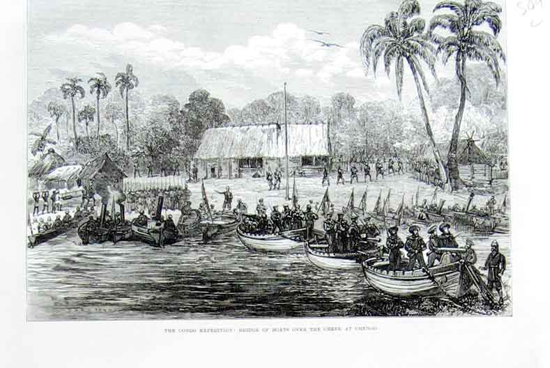 Print Congo Exped Bridge Boats Over Creek Chengo 1875 Africa 09Laaa1 Old Original