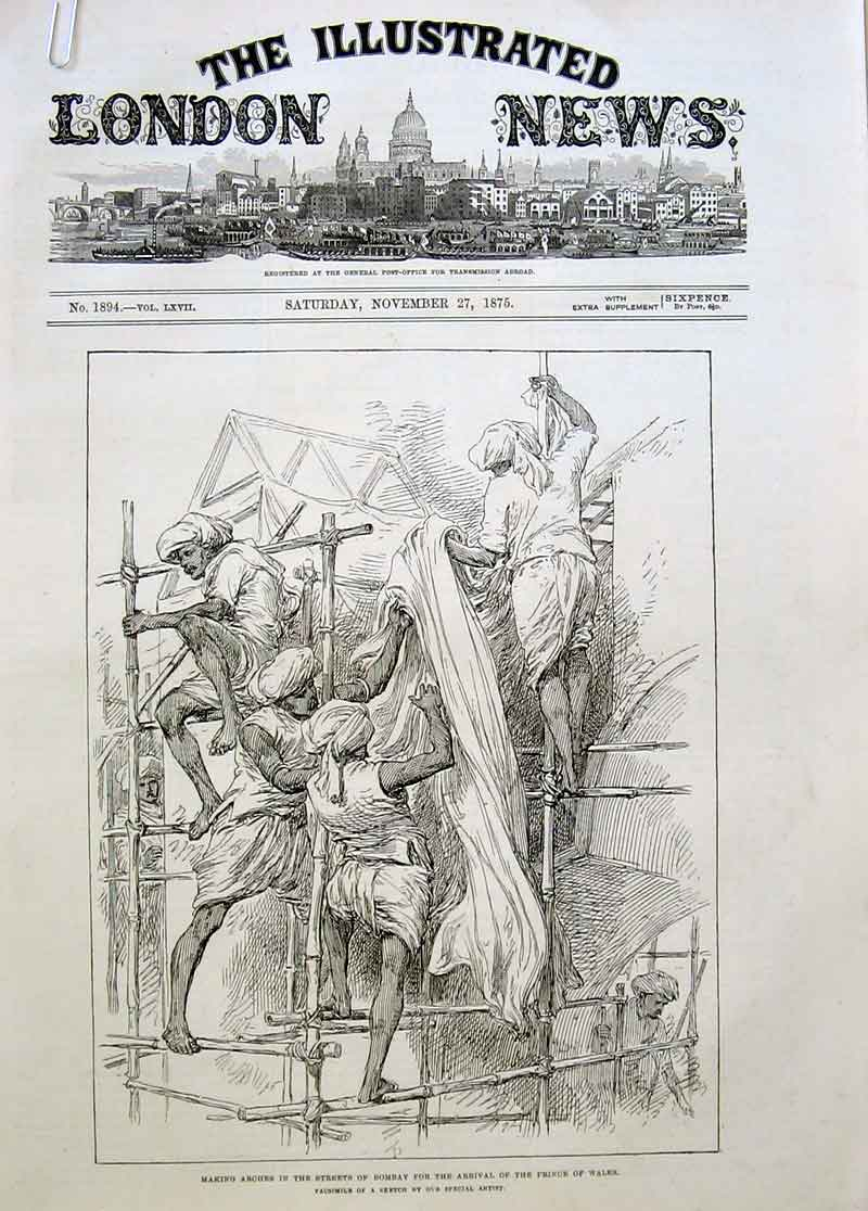 Print Decoriting Bombay Streets For Royal Visit 1875 22Aaaa1 Old Original