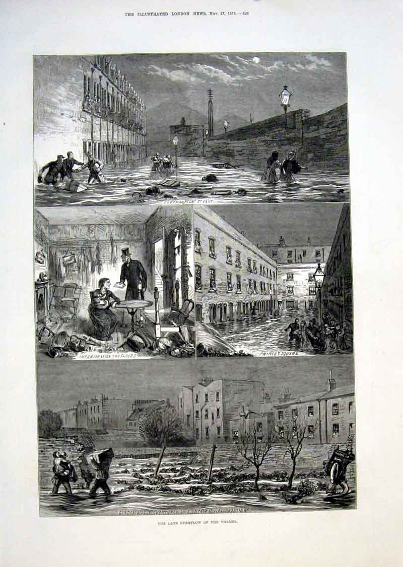 Print Thames Flood Southampton St Princes Sq Wandsworth 18 25Aaa1 Old Original