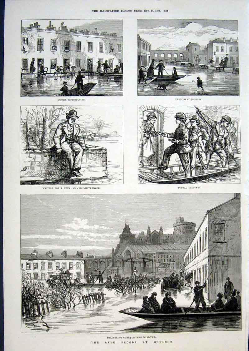 Print Floods At Windsor 1875 32Aaa1 Old Original