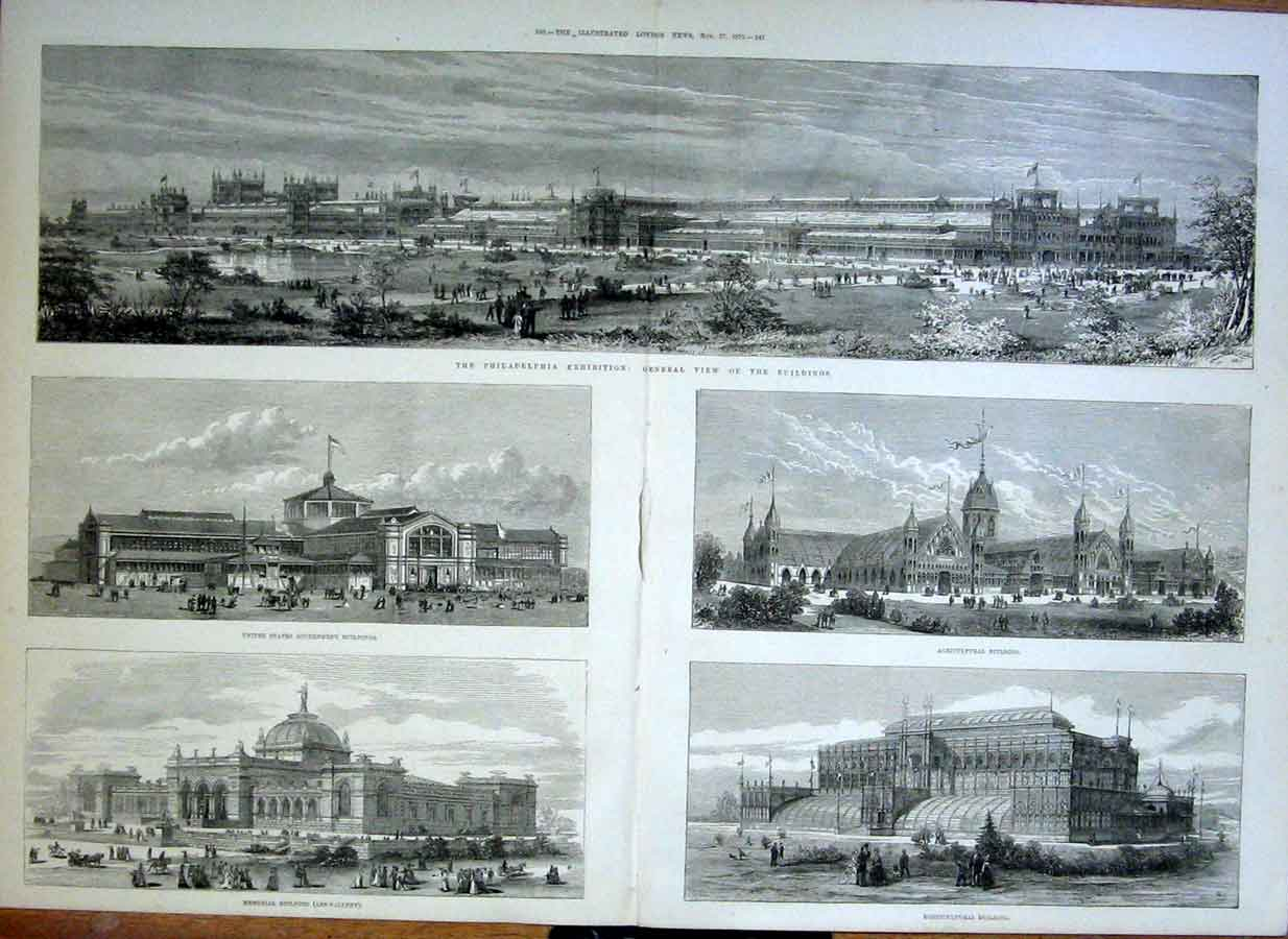 Print Ohiladelphia Exhibition 1875 Buildings 39Taaa1 Old Original