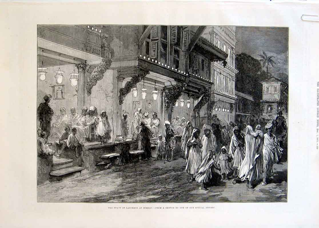 Print Feast Lanterns Bombay Snake Charmers India 1875 65Aaaa1 Old Original