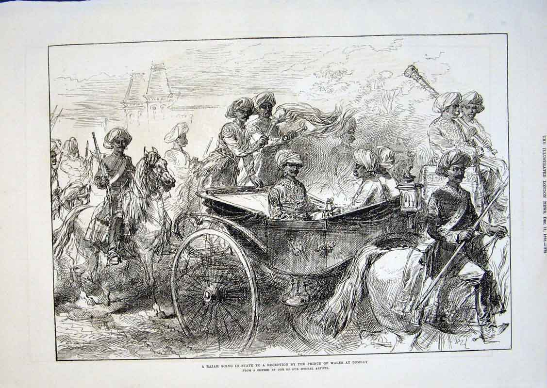 Print Rajah In State Carriage Bombay 1875 India 73Aaa1 Old Original