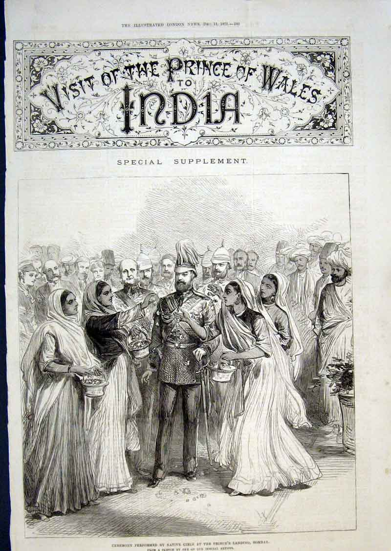Print Native Girls Welcome Prince Bombay 1875 85Aaa1 Old Original