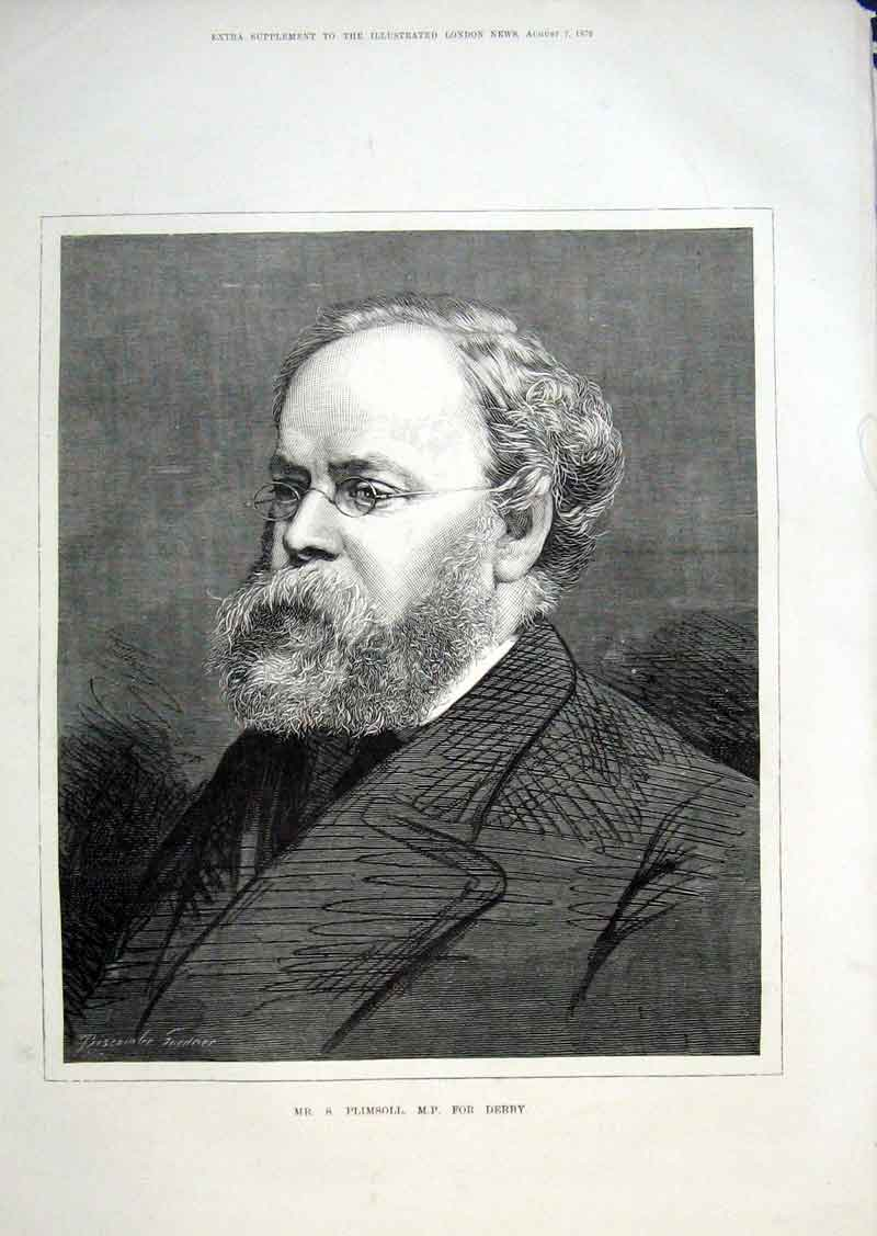 Print Mr S Plimsoll Mp For Derby 1875 50Aaa1 Old Original