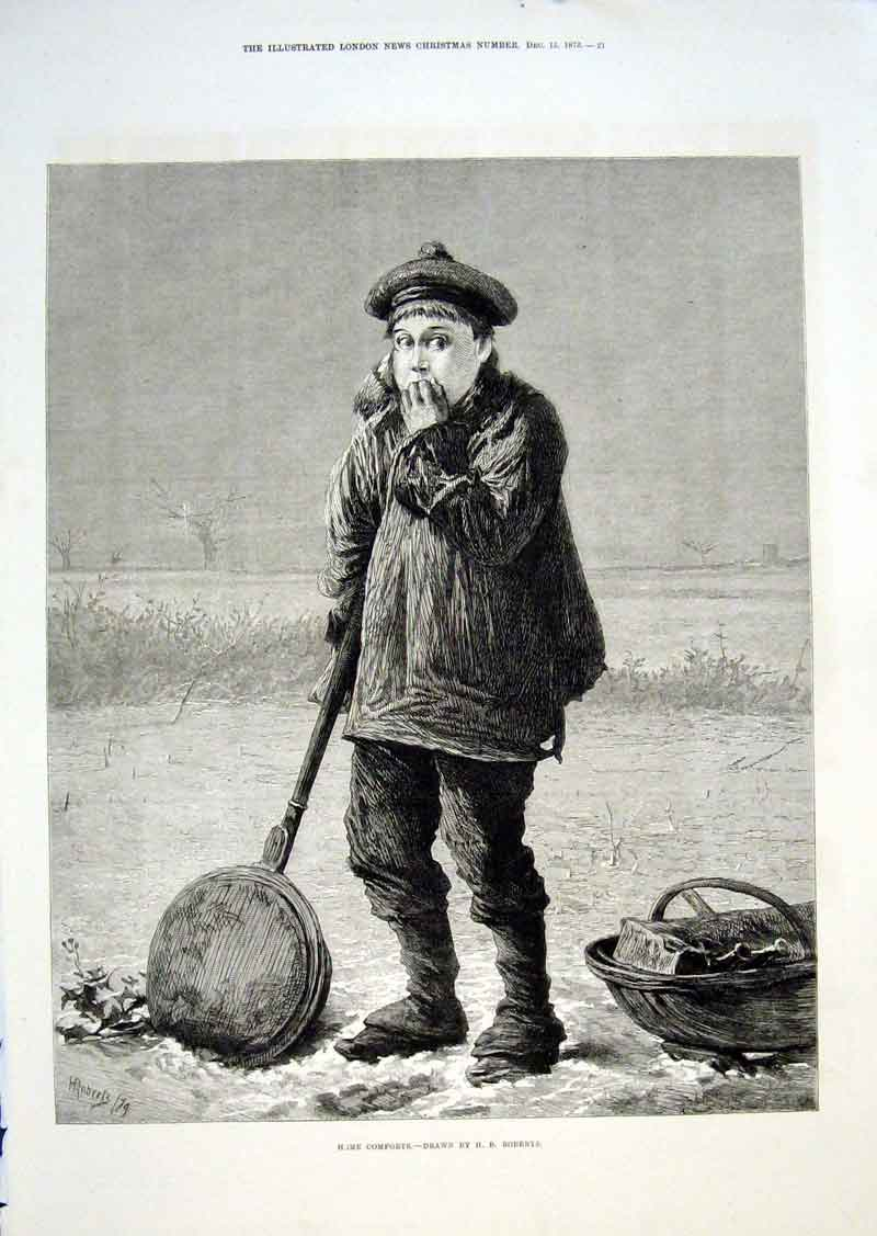 Print Home Comforts In The Snow By Roberts 1875 62Aaa1 Old Original