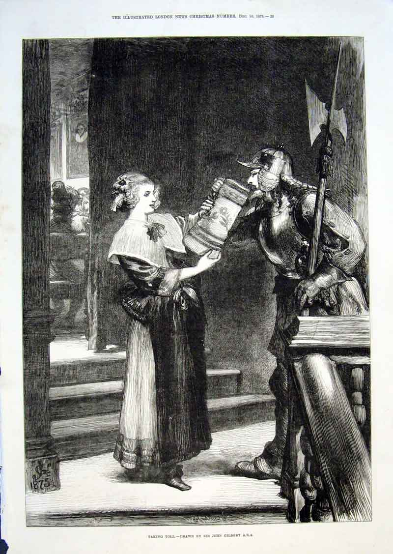 Print Taking Toll A Guard'S Drink By Gilbert 1875 65Aaa1 Old Original