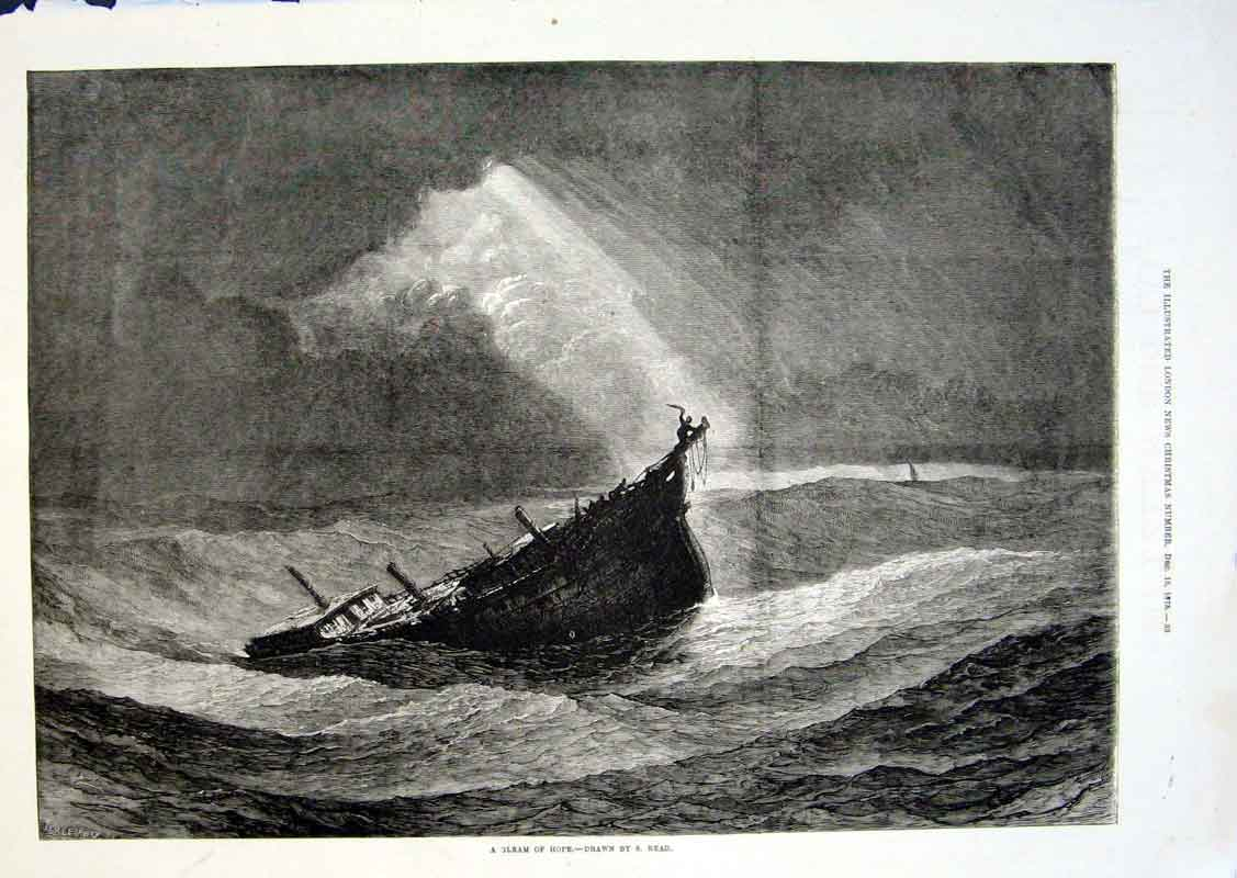 Print A Gleam Hope For Dismasted Ship By Read 1875 66Aaa1 Old Original