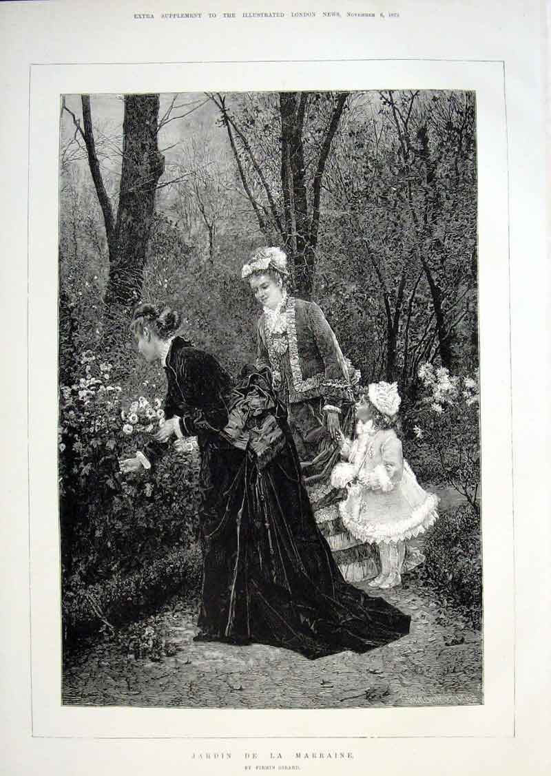 Print Jardin De La Marraine By Girard Fine Art 1875 70Aaa1 Old Original