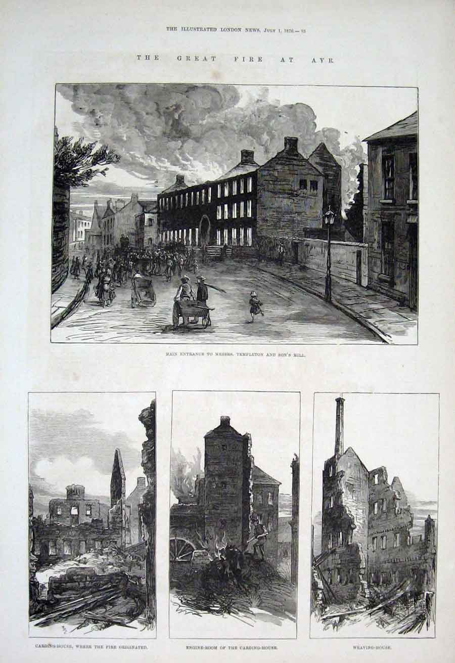 Print Great Fire At Ayre 1876 Scotland 13Aaa1 Old Original