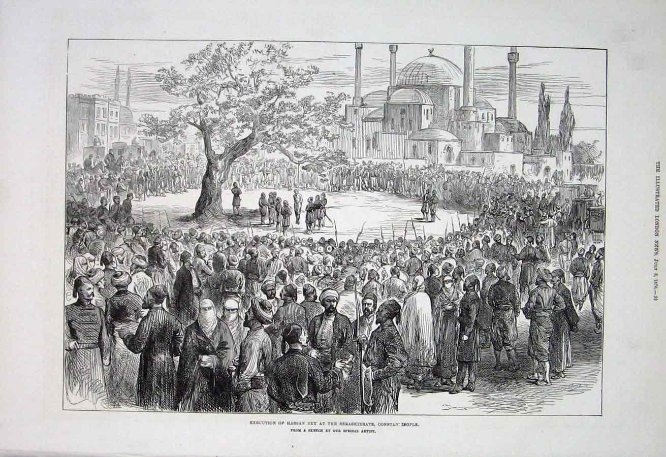 Print Execution Hassan Bey At Seraskierate Constantinople 187 32Aaa1 Old Original