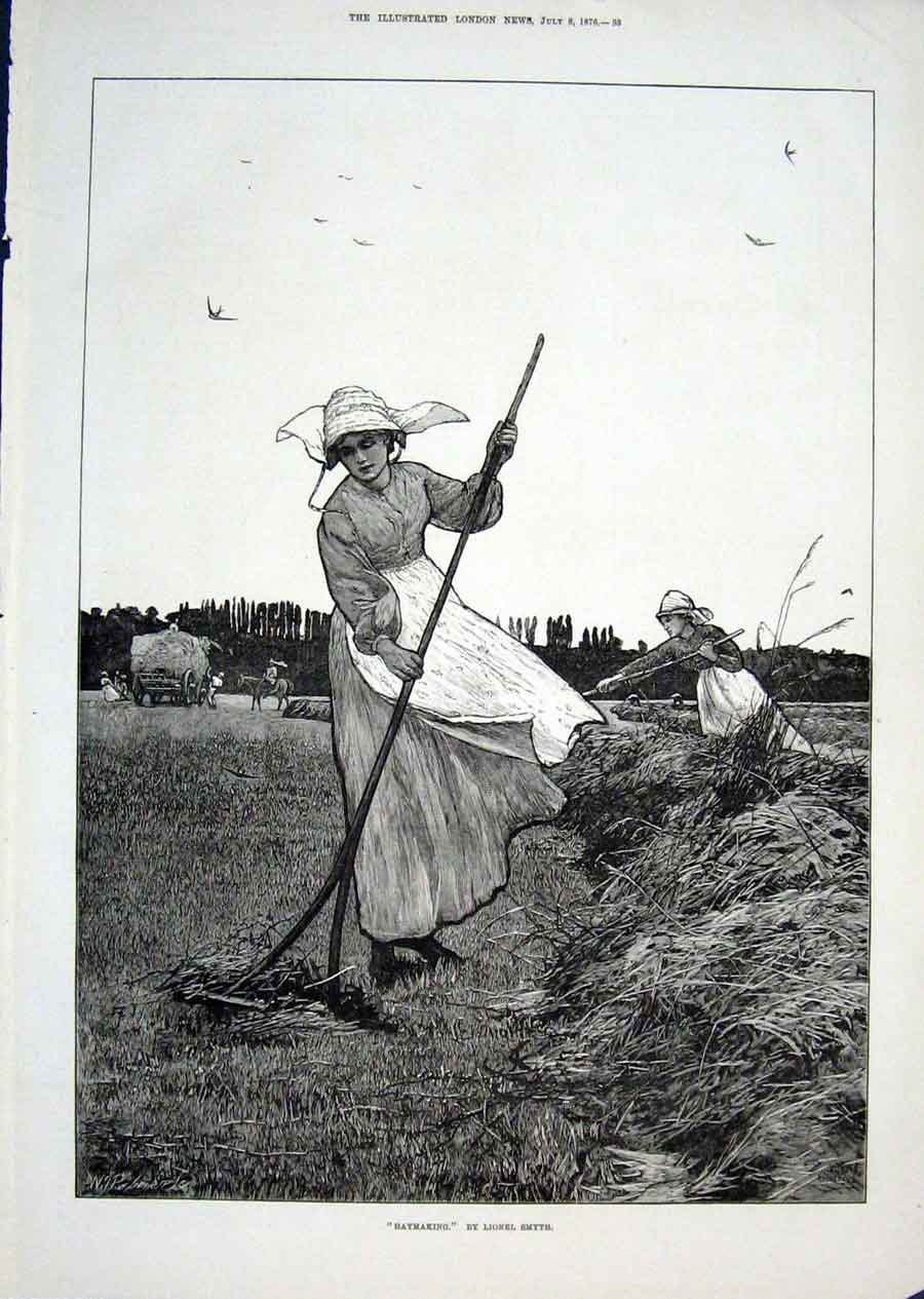 Print Haymaking By L Smyth 1876 Fine Art 33Aaa1 Old Original