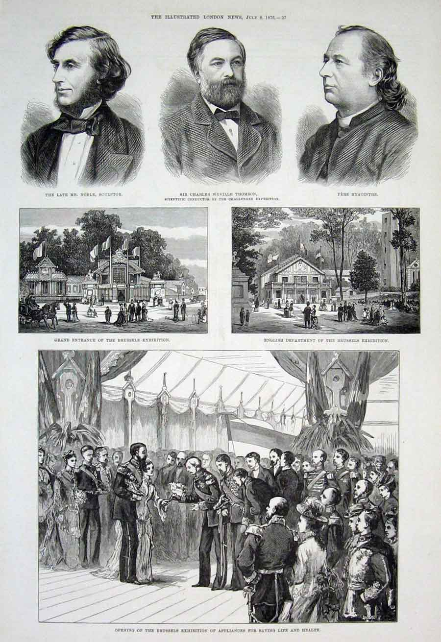 Print Brussels Exhibition Appliabnces For Saving Life 1876 37Aaa1 Old Original