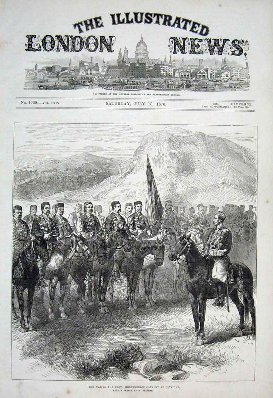 Print Montenegrin Cavalry At Cettigne 1876 War 50Aaa1 Old Original