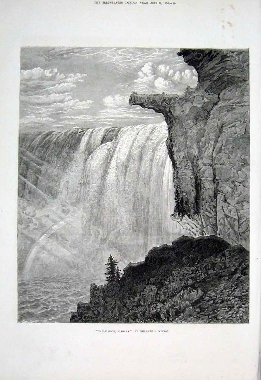 Print Table Rock Niagra By Mignot 1876 Fine Art 80Aaa1 Old Original