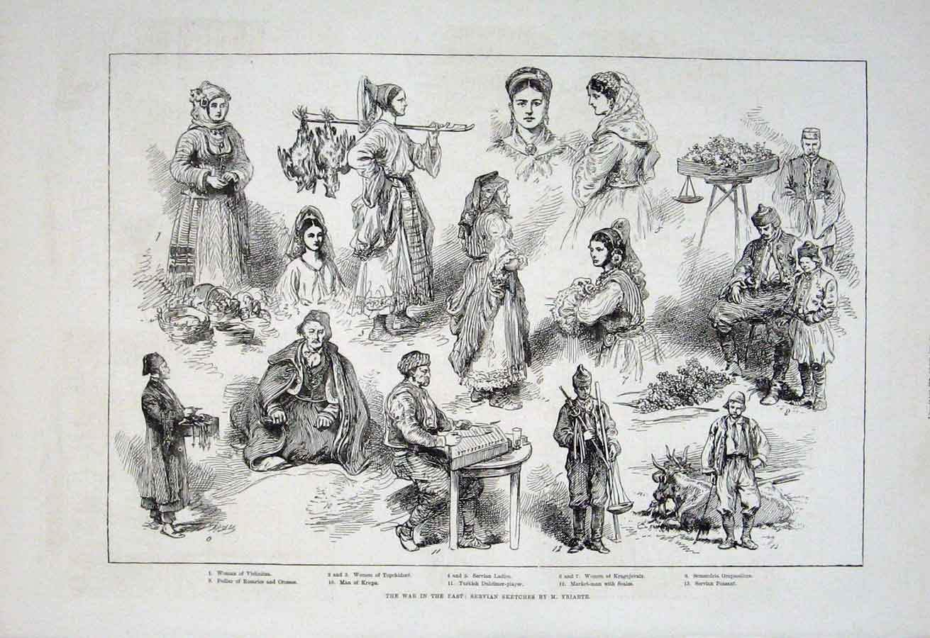 Print War In East 1876 Sevian Sketches By Yriat 84Aaa1 Old Original