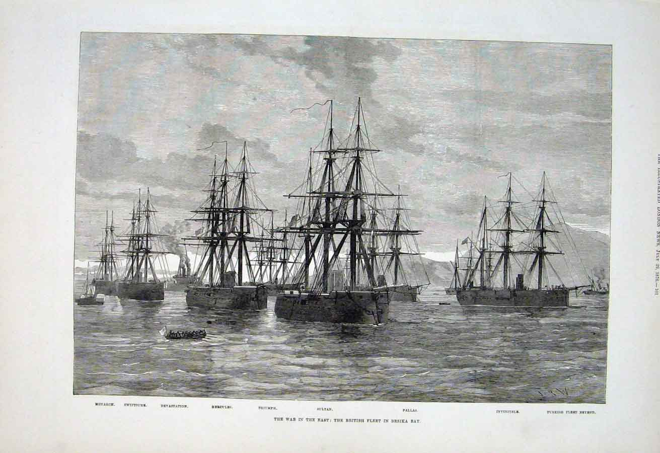 Print British Ships In Besika Bay 1876 War 01Aaa1 Old Original