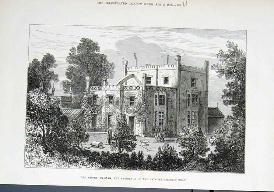 Print Priory At Balam Residence Vcharles Bravo 1876 40Uaaa1 Old Original