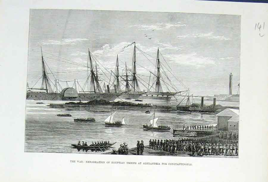 Print Embarkation Egyptian Troops Alexandria 1876 41Laaa1 Old Original