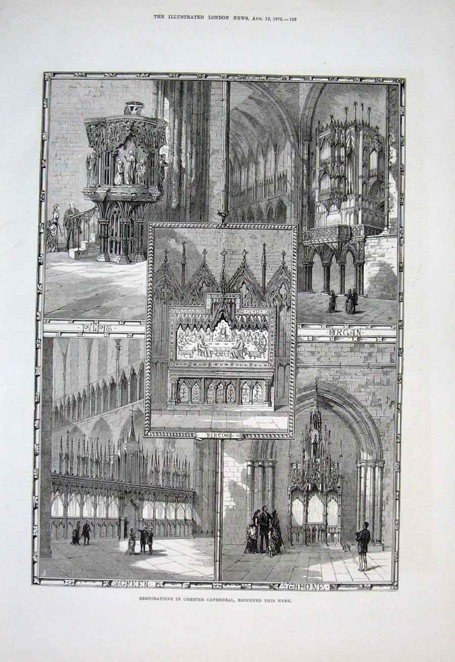 Print Restorations Chester Cathedral 1876 53Aaa1 Old Original